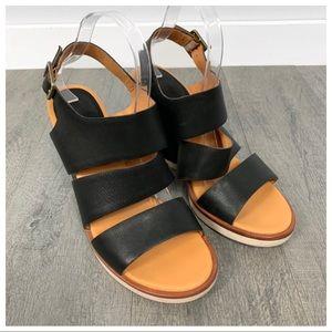 Kork-Ease Carolyne Black Leather Wedge Sandals